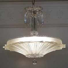 549 Vintage 40's Ceiling Light Lamp Fixture Chandelier antique SUNFLOWER | eBay