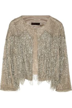 Kate Moss for Topshop|Fringed beaded tulle jacket|NET-A-PORTER.COM