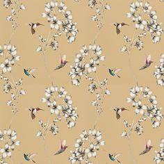 Amazilia by Harlequin - Bronze - Wallpaper : Wallpaper Direct Bronze Wallpaper, Harlequin Wallpaper, Trailing Flowers, Wall Candy, Hummingbirds, True Colors, Metallic, Colour Match, Powder Room