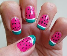 Inspired by my colorful fashion fruit prints I created an easy to copy watermelon nail art design. Nail Art Simple, Simple Nail Art Designs, Cute Nail Designs, Acrylic Nail Designs, Watermelon Nail Designs, Watermelon Nail Art, Fruit Nail Art, Nails For Kids, Girls Nails