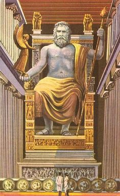 Artist representation of the statue of Zeus at Olympia. One fo the seven ancient wonders of the world. Artist representation of the statue of Zeus at Olympia. One fo the seven ancient wonders of the world. Ancient Greek Art, Ancient Rome, Ancient Greece, Greek History, Ancient History, Art History, Zeus Greek Mythology, Greek Gods, Gods And Goddesses