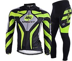 Sponeed Men's Road Cycling Jersey Suits Fresh Bicycle Wear Long sleeve Gel padded Pants Asian XL/ US L Green Check out the image by visiting the link.