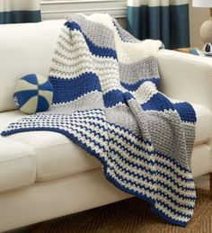 "Athleisure Striped Throw ~ easy level ~ finished size 46"" x 60"" ~ perfect for sports fans ~ can be customized to any size ~ FREE - CROCHET ~ great-looking afghan - great design"
