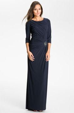 Adrianna Papell Elbow Sleeve Ruched Jersey Gown available at Nordstrom