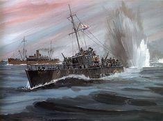 Navy Paintings by Artist Vladimir Emyshev Sea Hunter MO-4