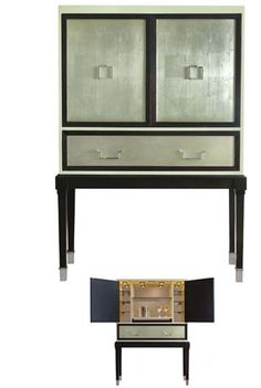 Bijou (6006.VC) Bar at Belle Meade Signature - Sterling with Espresso Luxe border doors/drawer, with Vanilla Creme around case - 47W 18D 68.5H