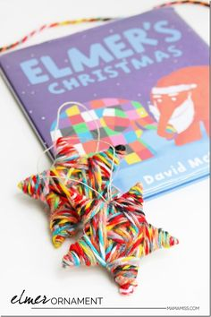 Elmer Ornament - part of 10 Days of a Kid-Made Christmas - featuring 70+ ornaments inspired by children's books!   @mamamissblog #KidMadeChristmas