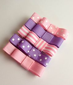 Baby Hair Clips  Baby Pink and Purple Set  by TurtleTotsDesigns, $7.50
