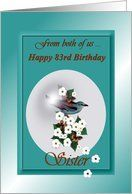 83rd / Birthday Sister / From Both Of Us ~ European Roller in a Bubble Card by Greeting Card Universe. $3.00. 5 x 7 inch premium quality folded paper greeting card. Birthday cards for the whole family are available at Greeting Card Universe. Make your loved ones feel special with a custom paper card. Send a paper Birthday card from Greeting Card Universe this year. This paper card includes the following themes: From both of us Happy 83rd Birthday Sister, from both ...