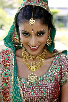 red and green indian wedding makeup
