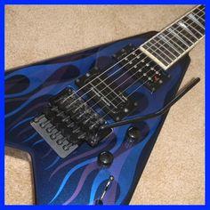 Jackson 2004 KV2 USA King Flying V Electric Guitar Blue Ghost Flames w Case | eBay