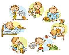 Illustration of Little boy's daily activities, no gradients vector art, clipart and stock vectors.