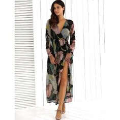 Surplice Summer Floral Maxi Beach Dress with Slit - XL XL
