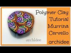 ▶ Tutorial Polymer Clay   Murrina Cervello in 7 parti e 7 colori   DIY Easy Millefiori Cane - YouTube