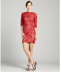 9b10e9058d50 Aijek red stretch lace 3/4 sleeve dress Red Shorts, Red Lace, Stretch