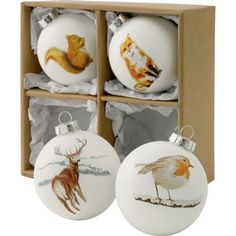White Watercolour Animal Glass Christmas Tree Baubles - Pack of 4