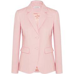 Altuzarra Fenice wool-blend piqué blazer ($1,295) ❤ liked on Polyvore featuring outerwear, jackets, blazers, blazer, suits, blazer jacket, pink blazer, pink blazer jacket, wool blend blazer and pink jacket