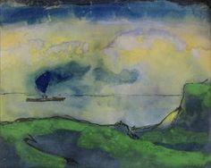 Emil Nolde. Green Coastal Landscape with Steamer