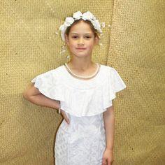 White Sunday little girl's puletasi