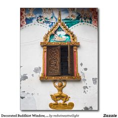 Decorated Buddhist Window, Wat Si Saket Temple Postcard