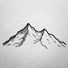 simple art Mountain Drawing // Easy things to draw - Mountain Drawing Simple, Mountain Sketch, Mountain Art, Tattoo Mountain, Simple Mountain Tattoo, Lion Drawing Simple, Fuji Mountain, Mountain Nursery, Winter Mountain