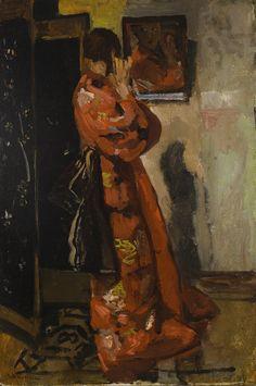 George Hendrik Breitner - Voor de spiegel: In front of the mirror Rotterdam, Piet Mondrian, Mirror Painting, Figure Painting, Van Gogh, Z Arts, Dutch Painters, Dutch Artists, Traditional Paintings