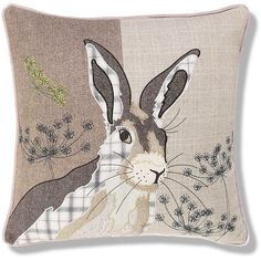 Buy the Hermione Hare Print Cushion from Marks and Spencer's range. Cushion Embroidery, Applique Cushions, Wool Applique Patterns, Applique Quilts, Embroidery Applique, Animal Quilts, Animal Pillows, Fabric Painting, Fabric Art