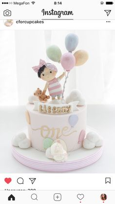Awesome Picture of Baby Birthday Cake . Baby Birthday Cake First Birthday Cake Sydney Cakes Celebration Cakes Ba Cakes 1st Birthday Cake For Girls, Baby Birthday Cakes, First Birthday Cakes, Birthday Ideas, Birthday Parties, Fondant Baby, Fondant Cakes, Bolo Laura, Baby Girl Cakes