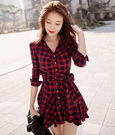 Cheap Dresses, Buy Directly from China Suppliers: Women Retro Long Sleeve Dress Red Plaid Lapel V Neck Shirt Dress Belted Dress Brand New and High Q Cheap Dresses, Women's Dresses, Cute Dresses, Dress Outfits, Casual Dresses, Dresses With Sleeves, Fashion Outfits, Floral Dresses, Skater Dresses