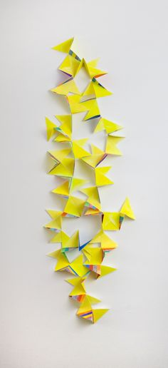 alex paik Folded Square (Hanging Yellow)gouache, colored pencil, paper40 x 13 x 3.5 inches2014