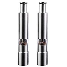 2 PACK Salt Pepper Grinders Set, Stainless steel Gourmet Pump Spice Cooking Gadgets, Pepper Mill >>> You can find more details by visiting the image link. (This is an affiliate link) Cooking Gadgets, Kitchen Gadgets, Kitchen Utensils, Salt And Pepper Grinders, Gourmet Cooking, Eyeliner, Spices, Image Link, Stainless Steel