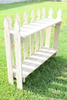 Items similar to Reclaimed picket fence, painted cream-colored - Upcycled - Shelf - B . Items similar to Reclaimed Picket Fence, Cream Painted – Upcycled – Shelf – Bookcase on Etsy, Outdoor Projects, Wood Projects, Outdoor Decor, Repurposed Furniture, Diy Furniture, Outdoor Furniture, Picket Fence Crafts, Picket Fences, Creation Deco