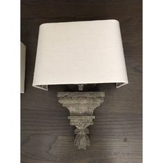 Image of Stone Carved Sconces With Shades - A Pair
