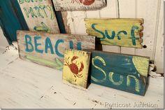 Reclaimed Wood Rustic Beach Signs