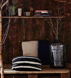 Handknitted cushion - black and white