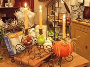 Create a candle holder with your own faux or fresh fruit and vegetables.