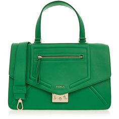 Furla Alice Emerald Green Medium Shoulder Bag (1.180 RON) ❤ liked on Polyvore featuring bags, handbags, shoulder bags, green, green leather handbag, emerald green purse, leather handbags, green handbags and green leather shoulder bag