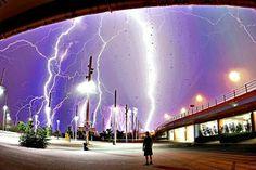 Multiple lightning strike Athens
