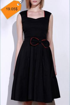 3e5606d8697 Vintage Women s Sweetheart Neck Bowknot Embellished Sleeveless Dress  Vintage Ladies