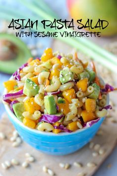 Asian Pasta Salad - A refreshing pasta salad loaded with sweet mango and fresh avocado!