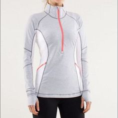 Lululemon brand new run wild half zip top! Lululemon brand new RUN WILD 1/2 zip top! Such a cool LULU piece with the flower mesh design on back! Look fabulous while running in this piece!  I also have this available in size 4! Retail photo is same top different color. lululemon athletica Tops Tees - Long Sleeve