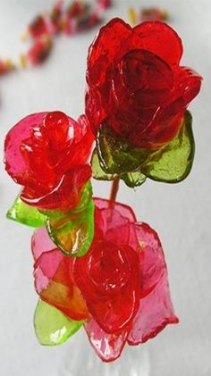 How to make roses out of Jolly Ranchers - eHow. Don't be afraid; it's actually quite easy!