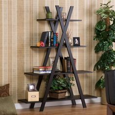 Modern Bookcase Bookshelf Display Shelves Home Office Living Room Bedroom from Hearts Attic. Saved to Home Aesthetic . Living Room Bedroom, Living Room Decor, Bedroom Modern, Bedroom Decor, Living Area, 4 Shelf Bookcase, Black Bookcase, Black Ladder Shelf, A Frame Bookshelf