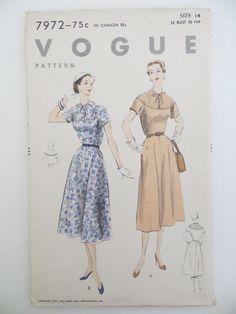 VOGUE Unprinted Complete Pattern  No. 7972    **Unused and factory folded with all original 12 pieces**  Includes instructions One-Piece Dress