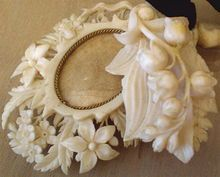 Antique French Dieppe Carved Ivory Locket Rare! Lily Of The Valley