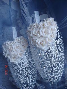 """Свадебные аксессуары ручной работы. Ярмарка Мастеров - ручная работа. Купить Свадебные бокалы """"Сердечко кружевное"""" в белом цвете. Handmade."""