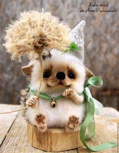Купить Ёжик Одуванчик - бежевый, белый, ежик, ежик игрушка, ежик из шерсти, ежик валяный