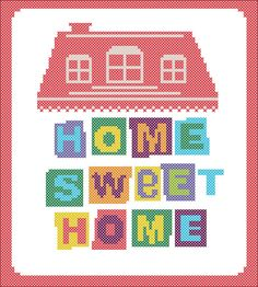 #06 BOGO FREE! PDF - Home Sweet Home - cross stitch PDF Pattern - pdf pattern instant download  For your consideration is a beautiful counted cross stitch pattern/chart as shown in the picture.  Pattern Details: This pattern is in PDF format and consists of a floss list, and a color symbol chart. A small sample of the color symbol chart is shown in the last photo. General instructions on how to make the item as shown are also provided. This listing is for a full-colour PDF pattern, which is…