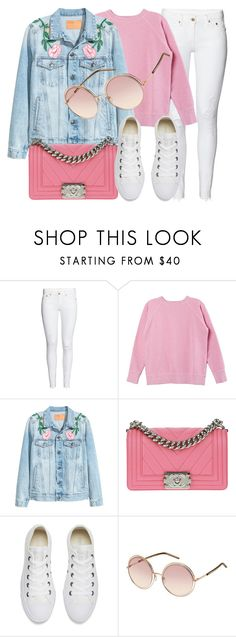 """""""Pink Rose"""" by smartbuyglasses-uk ❤ liked on Polyvore featuring Isabel Marant, Chanel, Converse, Marc Jacobs, white and Pink"""