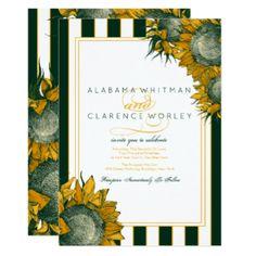 Elegant Forest Green Sunflower Wedding Invitations